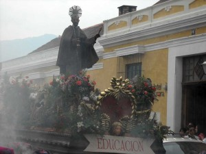 Santo Hermano Pedro allegorical procession goes throughout the streets of Antigua after the 2 p.m. mass on Sunday, April 29