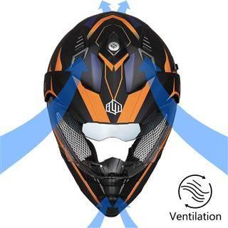 ILM Off Road Motorcycle Dual Sport Full Face Orange Helmet