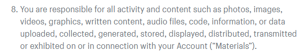 Shopify's terms of service