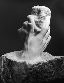Toward the end of his career, Rodin began to use giant hands in a series of original and idiosyncratic arrangements, with titles such as The Hand of God, The Hand of the Devil (1903), The Cathedral (1908), and The Secret (ca. 1910). The first of these represents divine creation expressed in terms of the sculptor's art: the rough stone is both primeval matter and the sculptor's medium; the smooth, white emerging forms held by the hand are the bodies of the first man and woman, while the great, life-giving hand itself is a symbol of the original Creator, and, perhaps quite literally, of the sculptor as well. The Hand of God was another of Rodin's works that has had wide appeal, and there are numerous versions of it, both in marble and in bronze. This marble was commissioned from Rodin in 1906 by one of the Metropolitan Museum's trustees. Rodin's Hand of God molding man in his image not from dust but Mind. This links to the allegory and grand narrative of Biblical creation. These are the roots of Western Civilization.