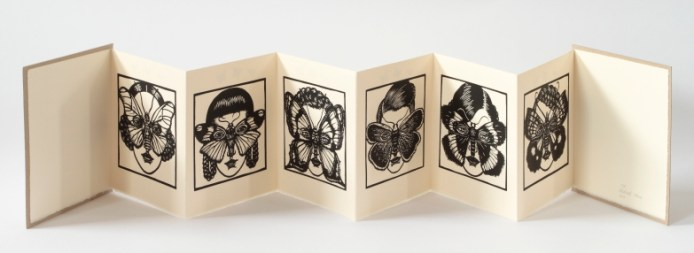 Women With Wings, 2010, Concertina book with linocuts and rubber stamps - page views