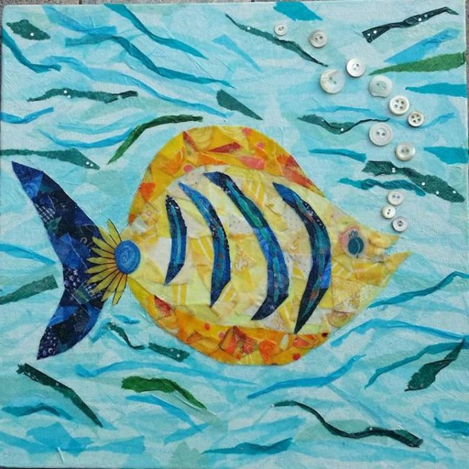 """Cheeky Fish #2"", 10""x10"" mixed media by Ruth Warren"