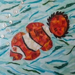 """Cheeky Fish #4"", 10""x10"" mixed media by Ruth Warren"