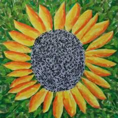 """""""Sunflower"""", 20""""x20"""" tissue collage by Ruth Warren"""