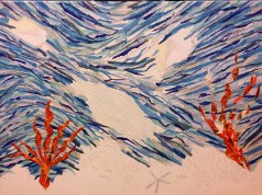 Work in progress: As the background neared completion, I started work on the coral reef foreground.