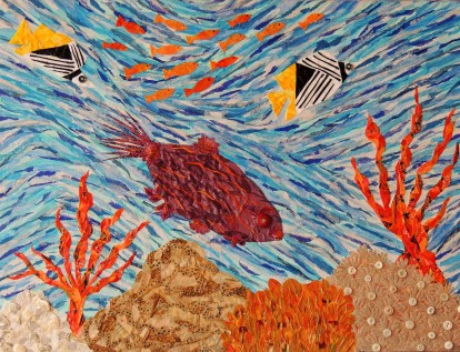 """""""Coral Reef Currents"""", mixed media by Ruth Warren"""