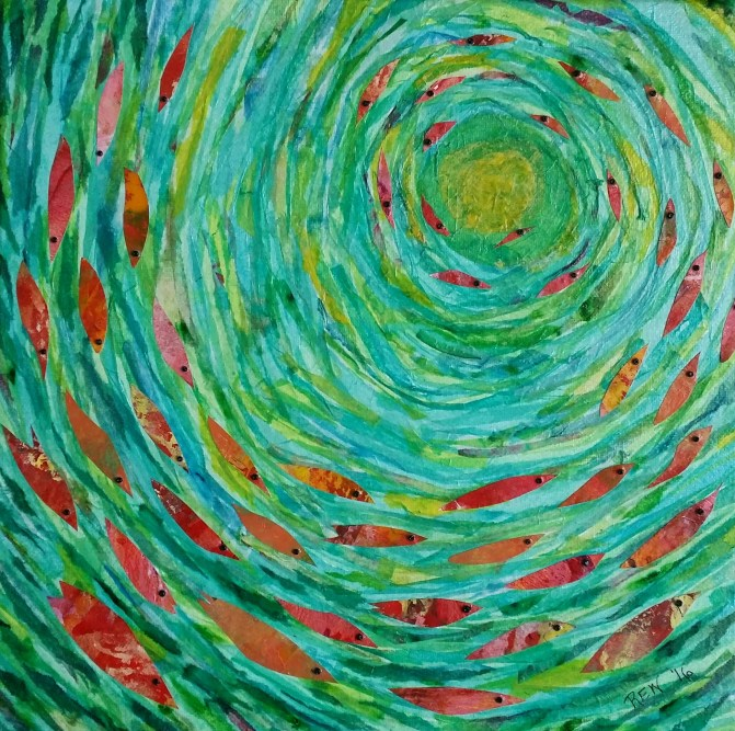 """""""Swimming to the Light #1"""", 12""""x12"""" mixed media collage by Ruth Warren"""