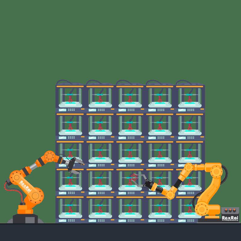 autonomous 3d printing farm operated by robots