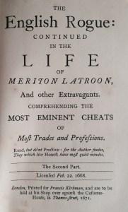 My copy of Richard Head's The English Rogue Described in the Life of Meriton Latroon, Vol. 2 (1671).