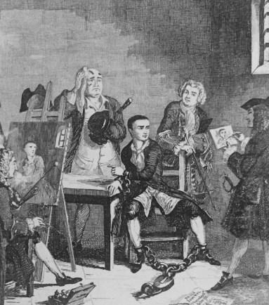 Jack Sheppard in Newgate. Illustration by G. Cruikshank (1839)