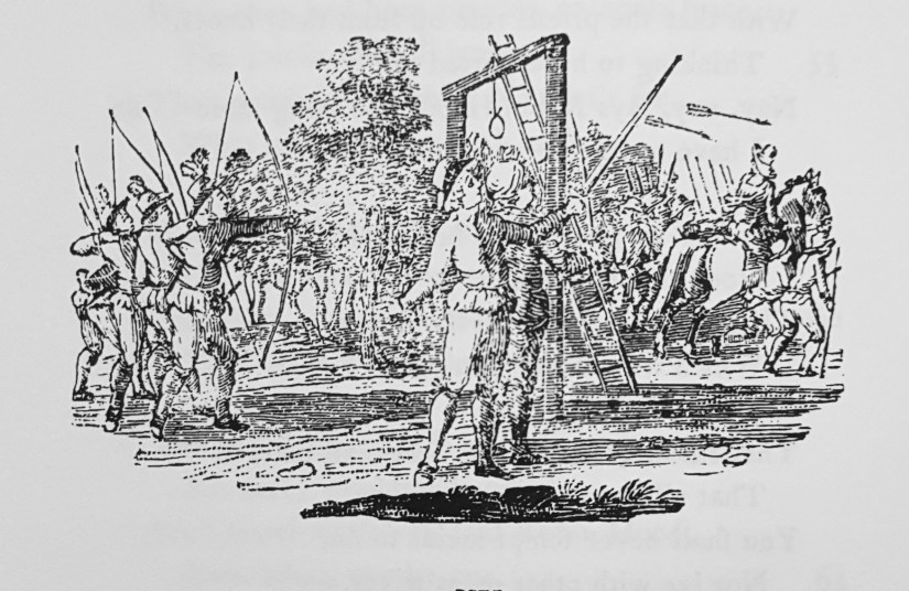 Robin Hood rescuing three men from the gallows