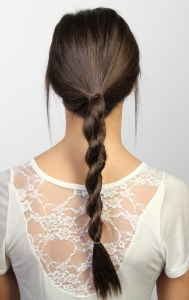 Picture of girl with rope hair braid from behind