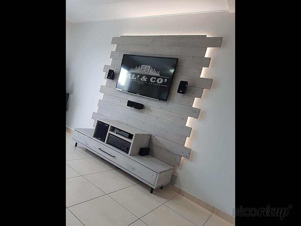 meuble tv sur mesure et son mur de