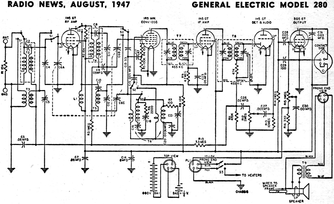 General Electric Model 280 Schematic Amp Parts List August
