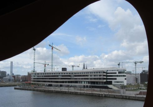 View from Baakenhafen towards HafenCity University
