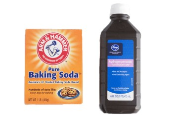 Baking Soda and Hydrogen Peroxide for cleaning shower tile grout.