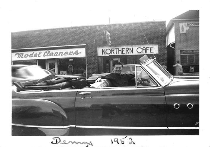 Denny in Buick Northern Cafe North Limestone c. 1952 / Christopher Bryson