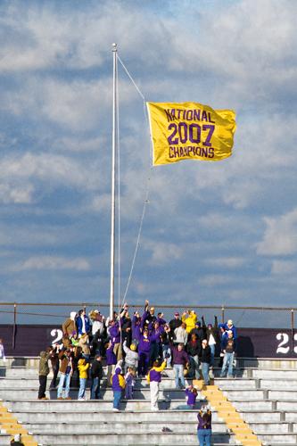 Raising the 2007 National Championship Flag Over Tiger Stadium