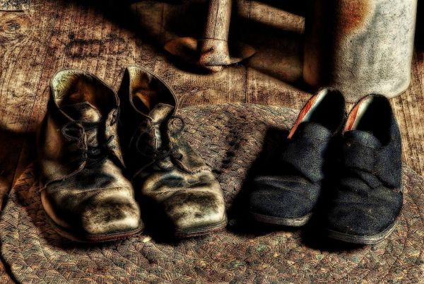 Shoes used as props at Mount Locust near Natchez, MS