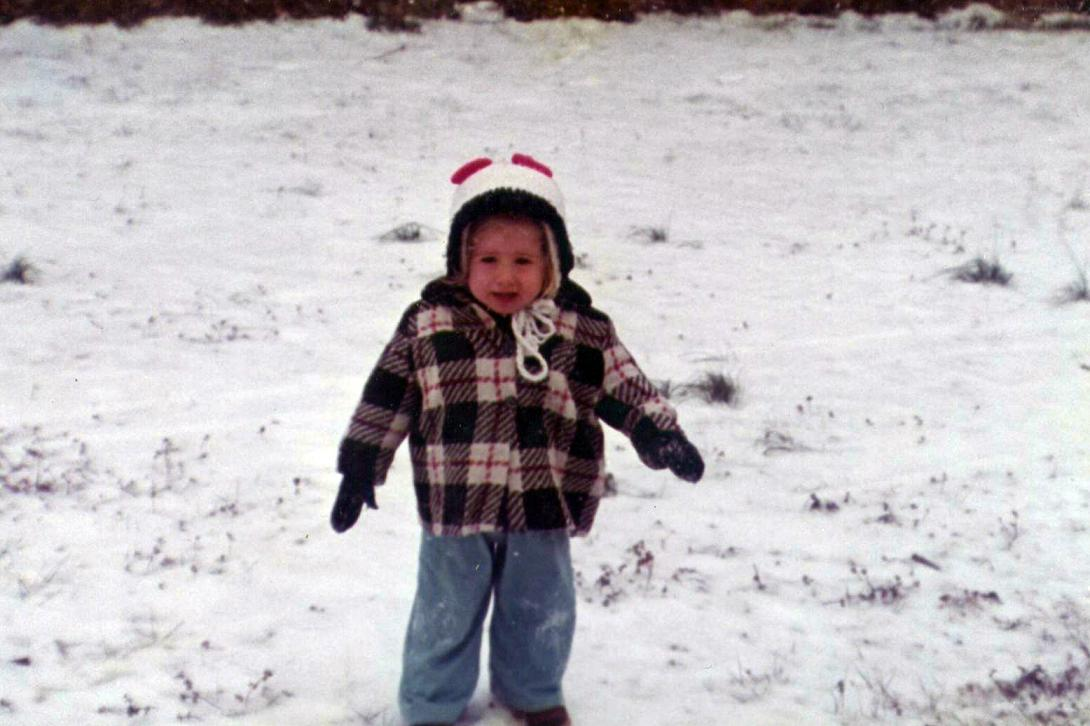 Shannon in a Virginia Beach Snow Fall circa 1979