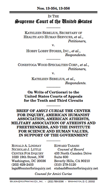 Hobby Lobby Amicus In Support Of Gov Religious Freedom Restoration Act Perils Professor Marci A Hamilton