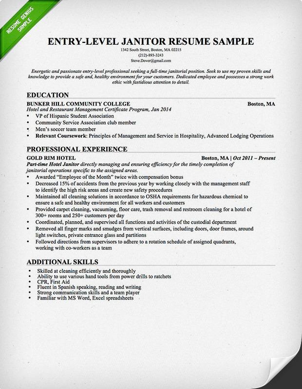 entry level janitor resume sample resume genius