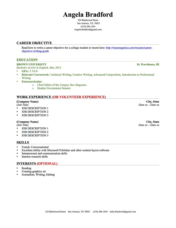 sample college student resumes resume templates and examples