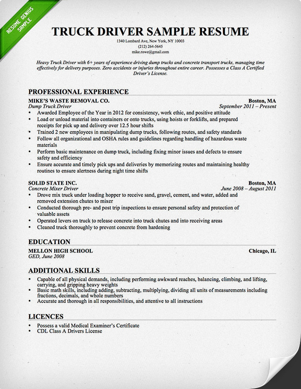 Trucking Resume Examples truck driver resume sample resume – Truck Driver Resume Example
