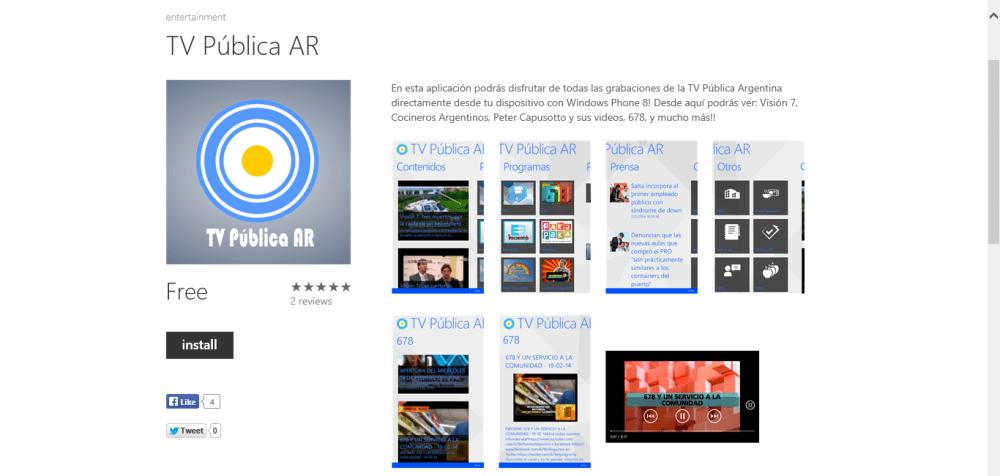 Nueva actualización de TV Pública AR en Windows Phone