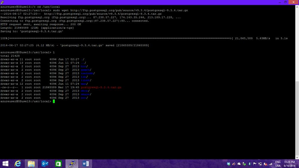 Instalando PostgreSQL en OpenSuse + Azure (4/6)