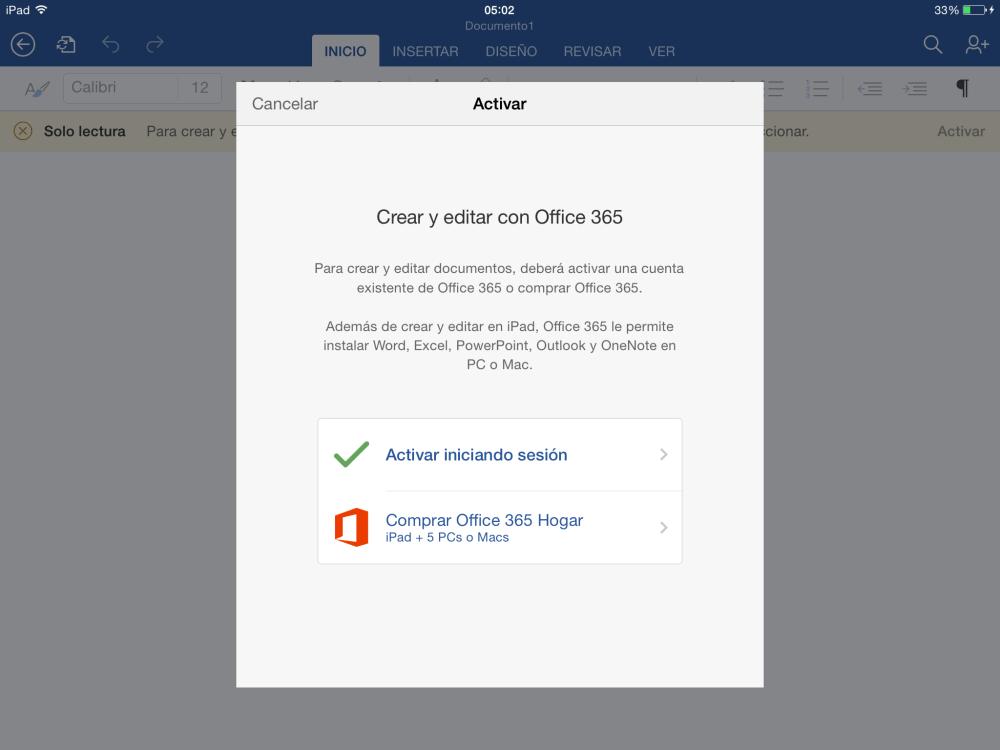Activar Office para iPad [O365] (3/5)