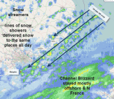 snow streamers bring showers to SE