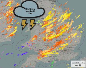 Lightning detected across the UK
