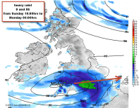 rain and wind for the south and south east for a time