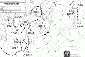 due to massive HIGH pressure across the UK and N Sea