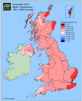 November warmer than average