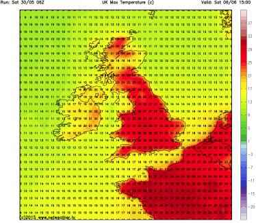 Saturday heat 30C?