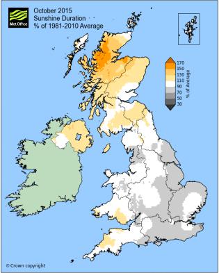 UK october 2015 sunshine
