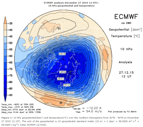 Late December powerful stratospheric vortex