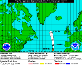 Alex hurricane track