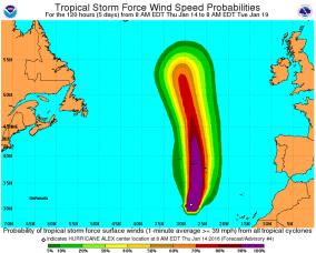 Hurricane Alex wind field probabilities