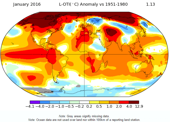global Jan 2016 warmer than average