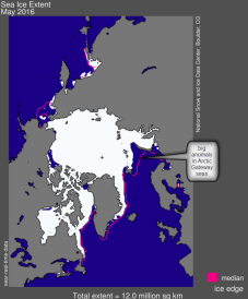 sea ice extent Spring 2016