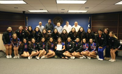 Edinburg High School national champion cheerleaders with Commissioners Court.