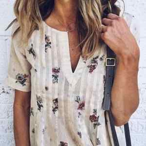 Floral Printed V-Neck Short Sleeves Casual