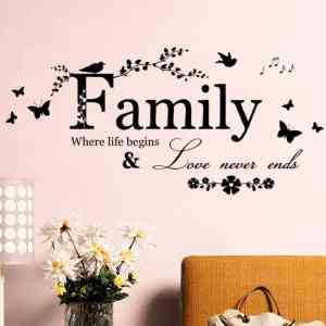 Family Love Never Ends Quote Vinyl Wall
