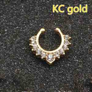 3PC Crystal Fashion Clicker Fake Septum For Women Body Clip Hoop Vintage