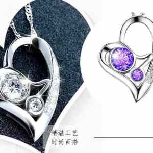 Fashion Jewelry Short Chain Purple Crystal Heart Necklace Vintage Hollow Out Love Pendant Necklace