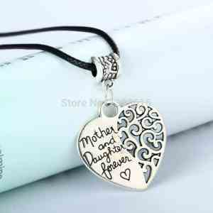 Heart Vintage Silver Plated Pendant Popular Mother And Daughter Forever Love