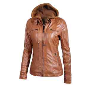 New Fashion Hooded Faux Leather Motorcycle Jackets